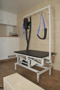 De elektrisch verstelbare trimtafel in de natte ruimte.